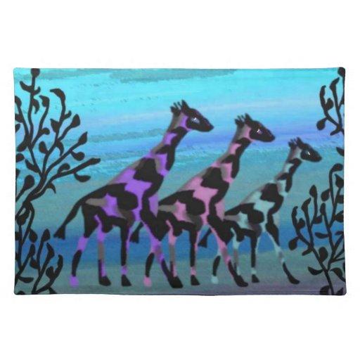 Giraffe Sunrise Custom Placemats