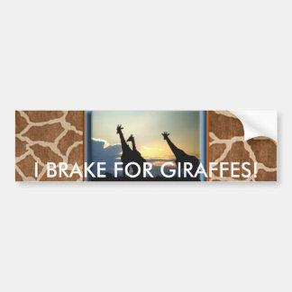 GIRAFFE SUNSET CAR BUMPER STICKER
