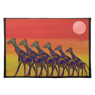 Giraffe Sunset Moon Custom Placemats