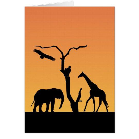 Giraffe sunset silhouette blank greetings card
