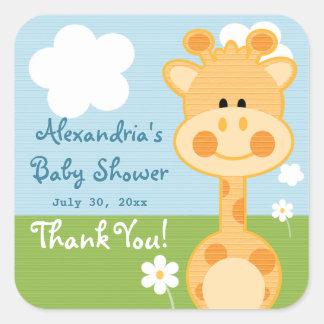 Giraffe Thank You Labels Square Sticker
