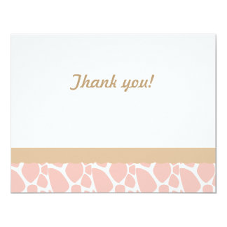 Giraffe  Thank you note-Pink-Brown 4.25x5.5 Paper Invitation Card