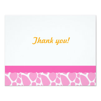 Giraffe  Thank you note-Pink 4.25x5.5 Paper Invitation Card