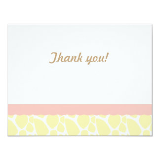 Giraffe  Thank you note-Pink-Yell 4.25x5.5 Paper Invitation Card