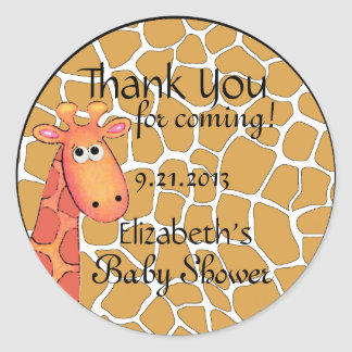 Giraffe Theme-Baby Shower Classic Round Sticker