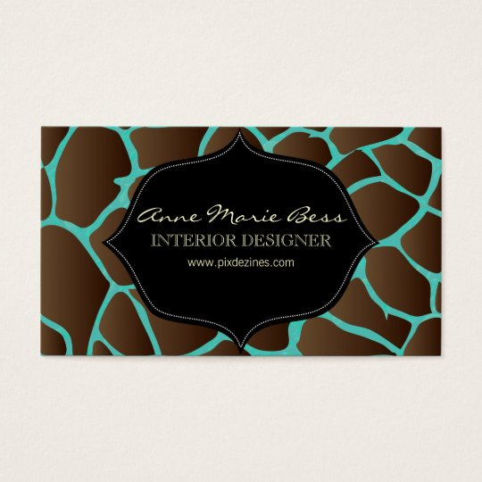 Giraffe + turquoise Damask  business cards