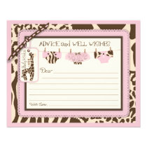 Giraffe Tutu Diapers Animal Print Advice Card