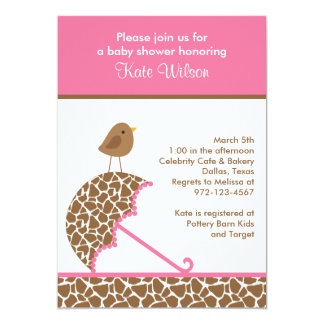 Giraffe Umbrella Baby Shower Invites (Pink)