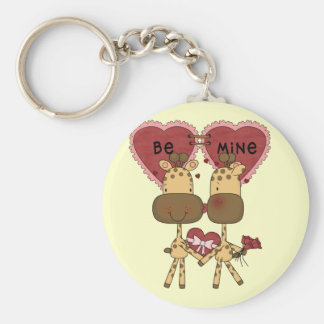 Giraffe Valentine Love  T-shirts and Gifts Basic Round Button Keychain