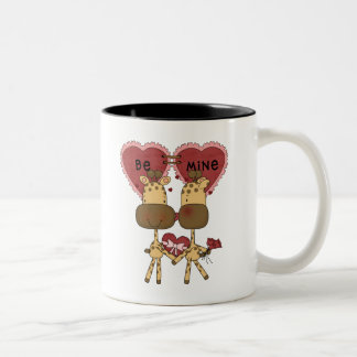 Giraffe Valentine Love  T-shirts and Gifts Two-Tone Coffee Mug