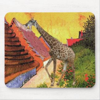 Giraffe van Gogh village painting Mouse Pad