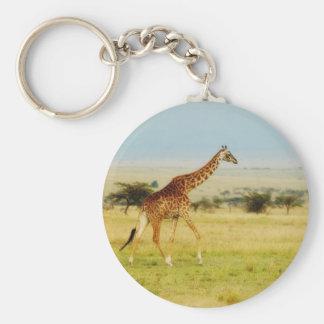Giraffe walking Masai Mara Plains, Kenya keychain