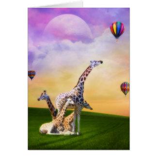 Giraffe Watching Balloons Card