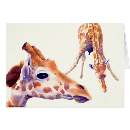 Giraffe Watercolor Greeting and Note Card