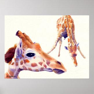 Giraffe Watercolor Painting Print and Poster