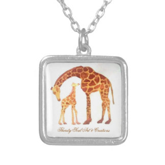 Giraffe Watercolor Pendant, Adult and Baby Silver Plated Necklace