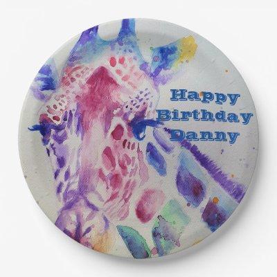 Giraffe Watercolour boy Birthday Party Paper Plate