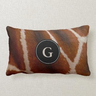 Giraffe Wild Animal Fur Pattern   Monogram Lumbar Lumbar Pillow