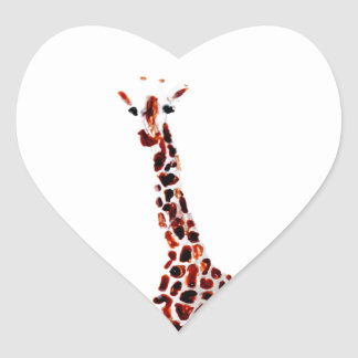 Giraffe Wildlife Art Heart Sticker