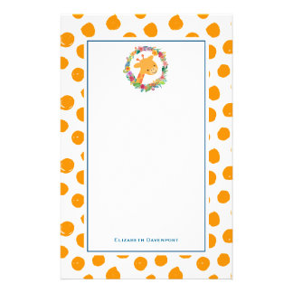 Giraffe with a  Floral Wreath on Orange Spots Stationery