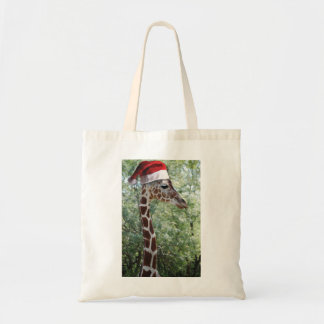 Giraffe with a Santa Claus Hat on Tote Bag