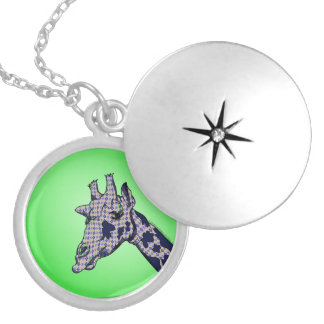 Giraffe With Argyle Patterned Sink And Blue Spots Locket Necklace