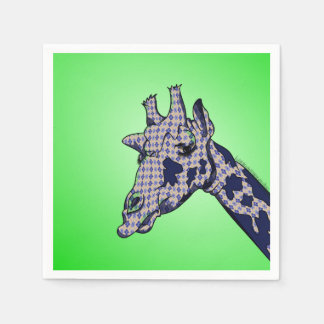 Giraffe With Argyle Patterned Sink And Blue Spots Paper Napkin