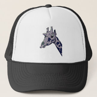 Giraffe With Argyle Patterned Sink And Blue Spots Trucker Hat