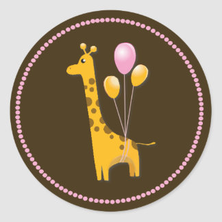Giraffe with Balloons Baby Shower Sticker