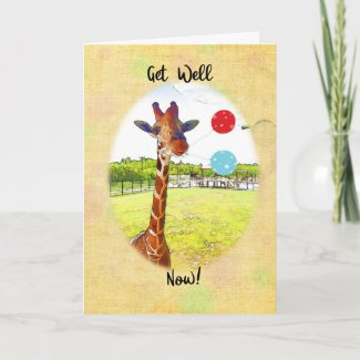 Giraffe With Balloons Get Well Card