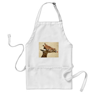 Giraffe with bottle in mouth adult apron