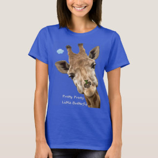 Giraffe With Butterfly On Her Nose. T-Shirt