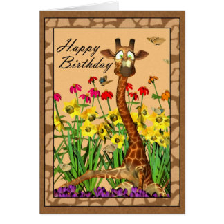 Giraffe with butterfly on the nose birthday card