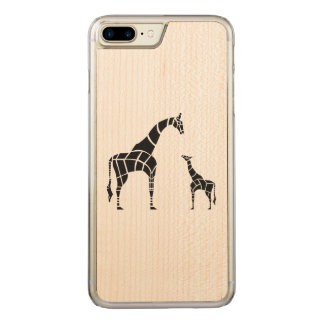 Giraffe with Calf Carved iPhone 7 Plus Case
