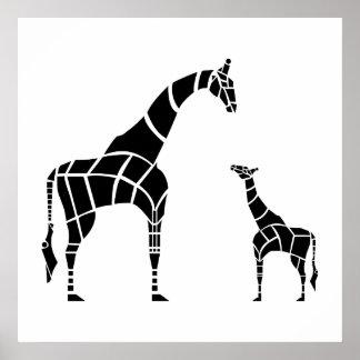 Giraffe with Calf Poster