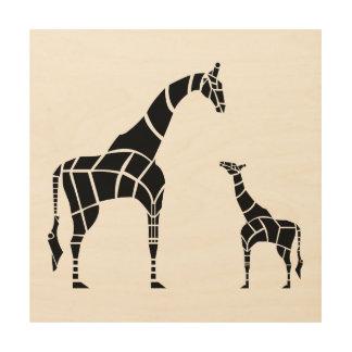 Giraffe with Calf Wood Wall Art