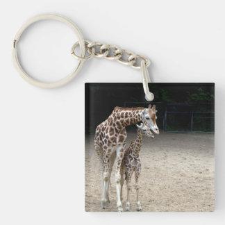 Giraffe with child keychain