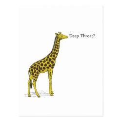 Giraffe with Deep Throat Postcard