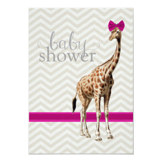 Giraffe with Fuschia Bow Chevron Shower Invitation