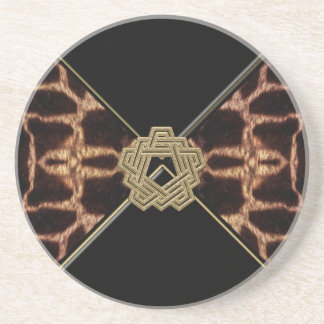 Giraffe with Gold Decor Collection Drink Coaster
