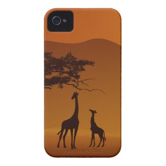 giraffe with her baby safari style case-mate iphone 4 case