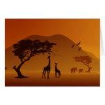 giraffe with her baby safari style family love greeting card
