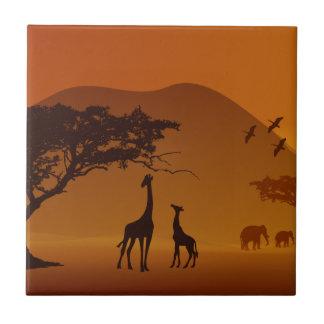 giraffe with her baby safari style family love tile