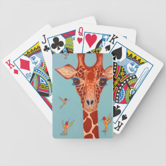 Giraffe with hummingbirds bicycle playing cards