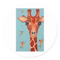 Giraffe with hummingbirds classic round sticker