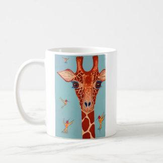 Giraffe with hummingbirds mugs
