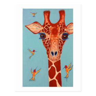 Giraffe with hummingbirds postcard