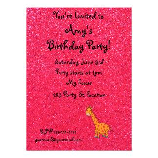 Giraffe with pink glitter sparkles invitations