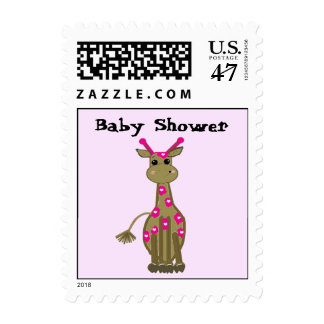 Giraffe with Pink Spots Baby Shower Postage Stamp