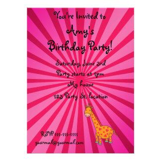 Giraffe with pink sunburst personalized invites